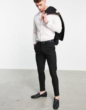 ASOS DESIGN wedding super skinny suit pants in black micro texture
