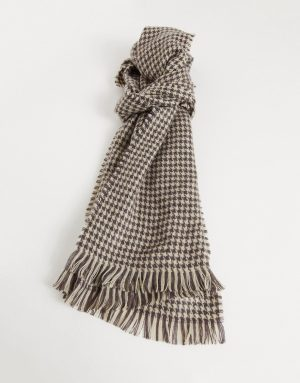 ASOS DESIGN woven scarf in houndstooth check-White