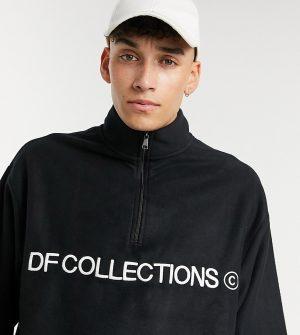 ASOS Dark Future Tall oversized polar fleece sweatshirt with half zip in black