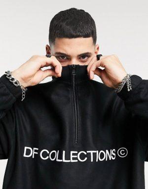 ASOS Dark Future oversized set polar fleece sweatshirt with half zip in black