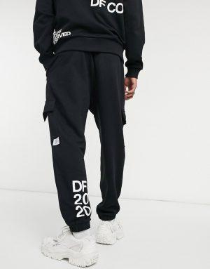 ASOS Dark Future set oversized sweatpants in black with multi-placement print