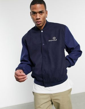 ASOS Daysocial oversized varsity jacket in navy with contrast blue sleeves