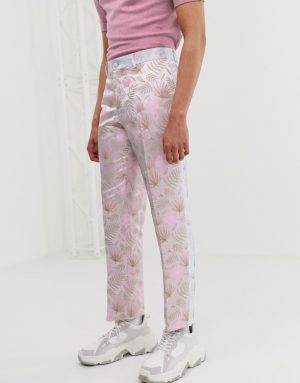 ASOS EDITION slim suit pants with cut and sew floral jacquard-Pink