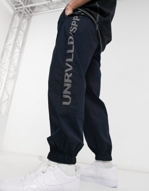 ASOS Unrvlld Spply oversized tapered sweatpants in blue-Navy