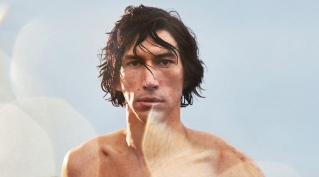Emerging from the water shirtless, Adam Driver stars in the Burberry Hero fragrance campaign.