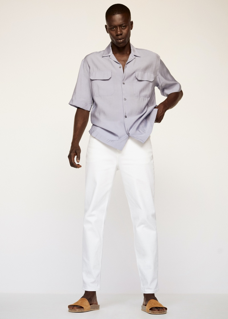 Front and center, Alpha Dia models a look from Mango Man's Clean collection.