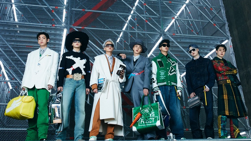 Korean boyband BTS make a grand style statement in Louis Vuitton's fall-winter 2021 men's collection.