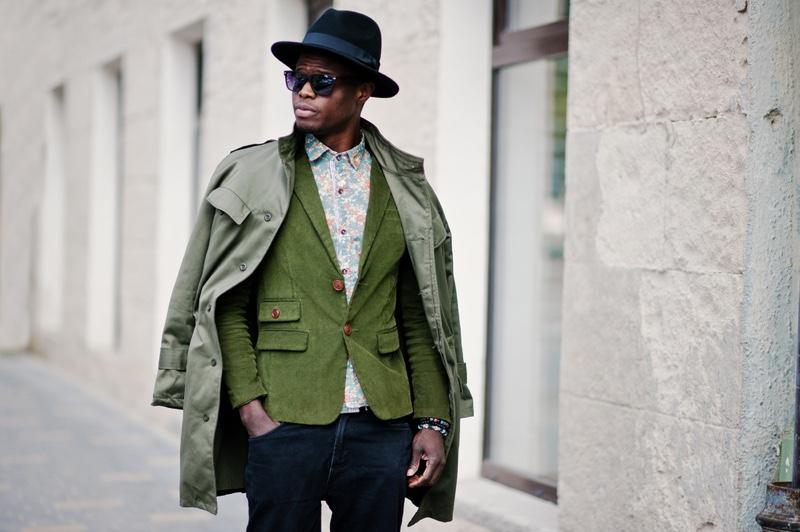 Black Man Green Street Style Blazer Jacket Hat