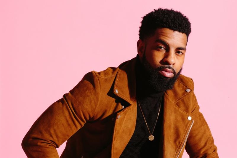 Black Man Suede Jacket Gold Necklace Beard