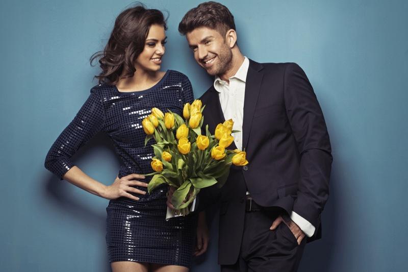 Elegant Couple Flowers Sequin Dress Woman Man Suit