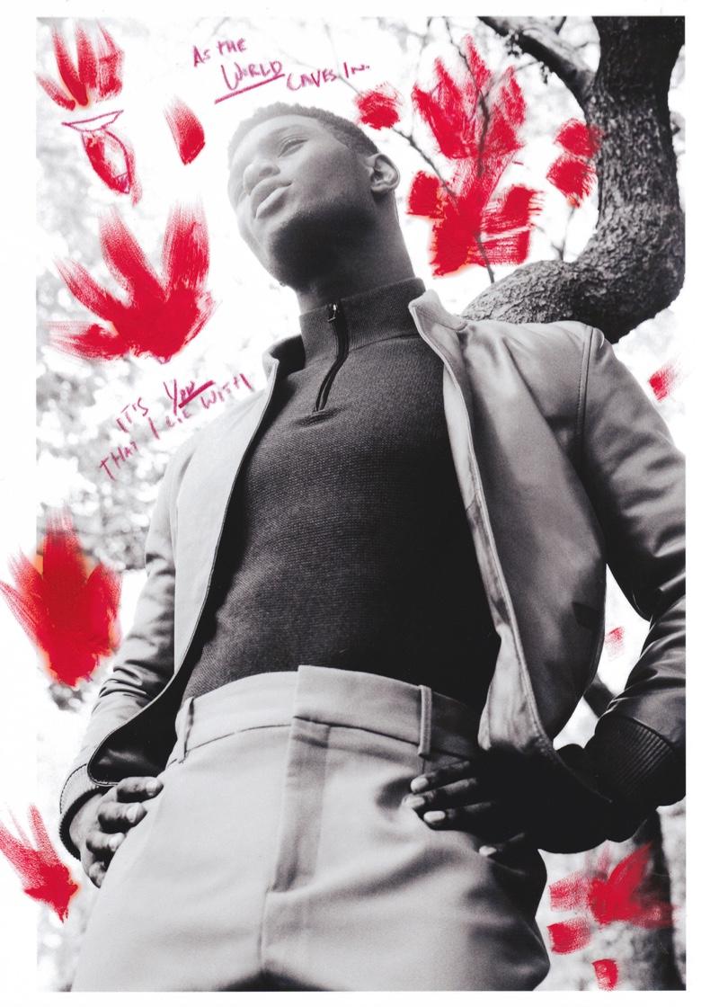 Joseph wears pants Hugo Boss, leather jacket and top POLO Ralph Lauren.