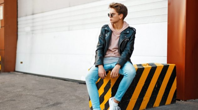 Guy Casual Outfit Leather Jacket Hoodie Jeans Sneakers