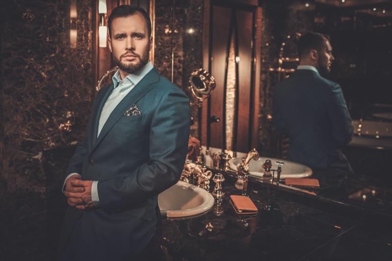 Handsome Man Luxury Bathroom Blue Suit