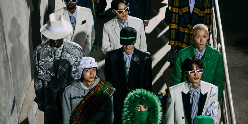 Models come together in Seoul, Korea where they showcase Louis Vuitton's fall-winter 2021 men's collection.