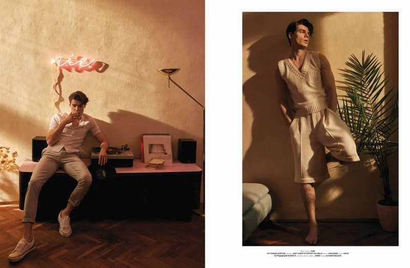 Maks Behr Spends a 'Sultry Afternoon' with L'Officiel Hommes Ukraine