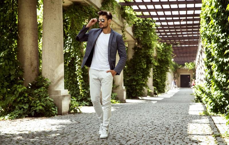 Male Model Blazer White Shirt Pants Outfit