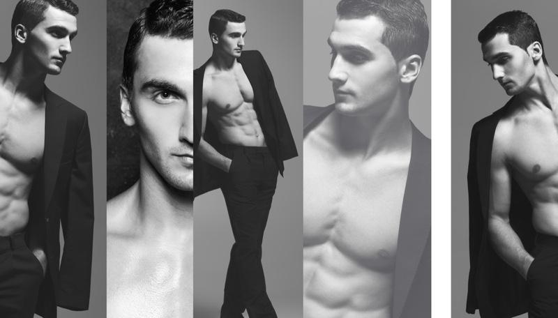 Male Model Black White Collage Photos