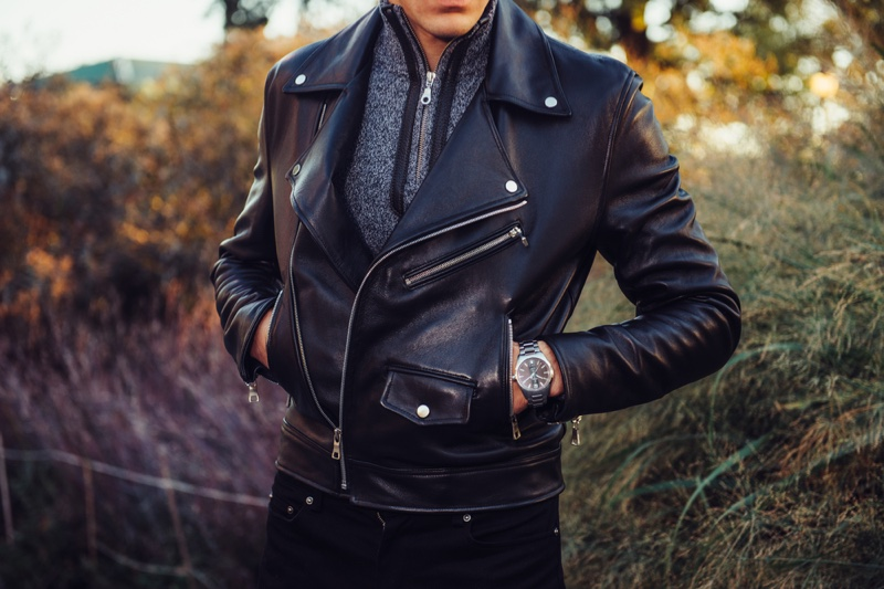 Male Model Leather Jacket Watch Cropped