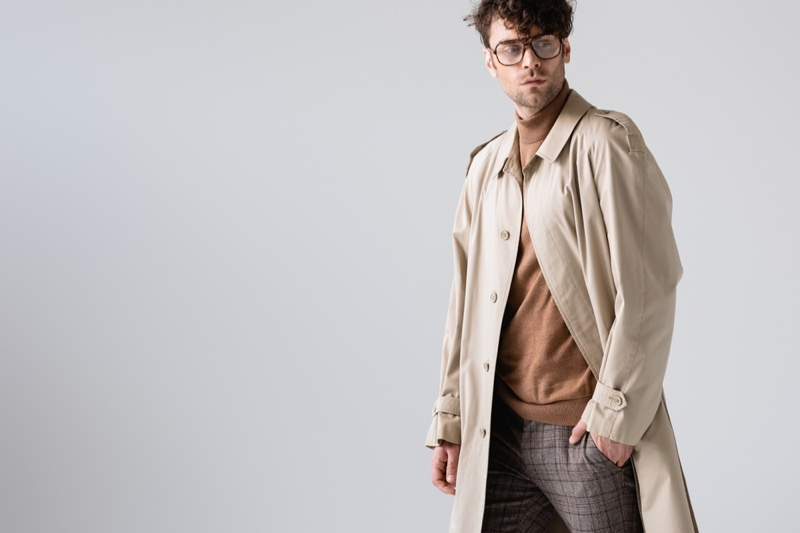 Male Model Trench Coat Mock Neck Shirt Outfit