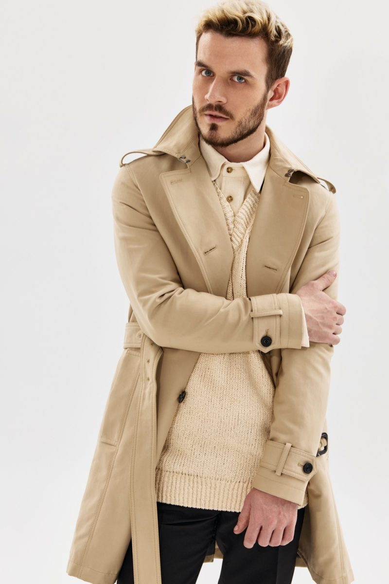 Male Model in Stylish Trench and Cream Colors