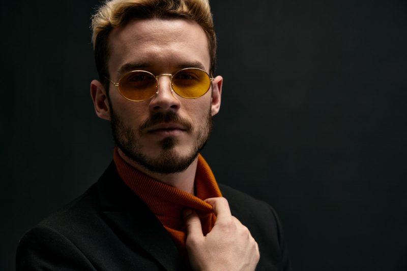 Male Model in Stylish Yellow Gold Sunglasses