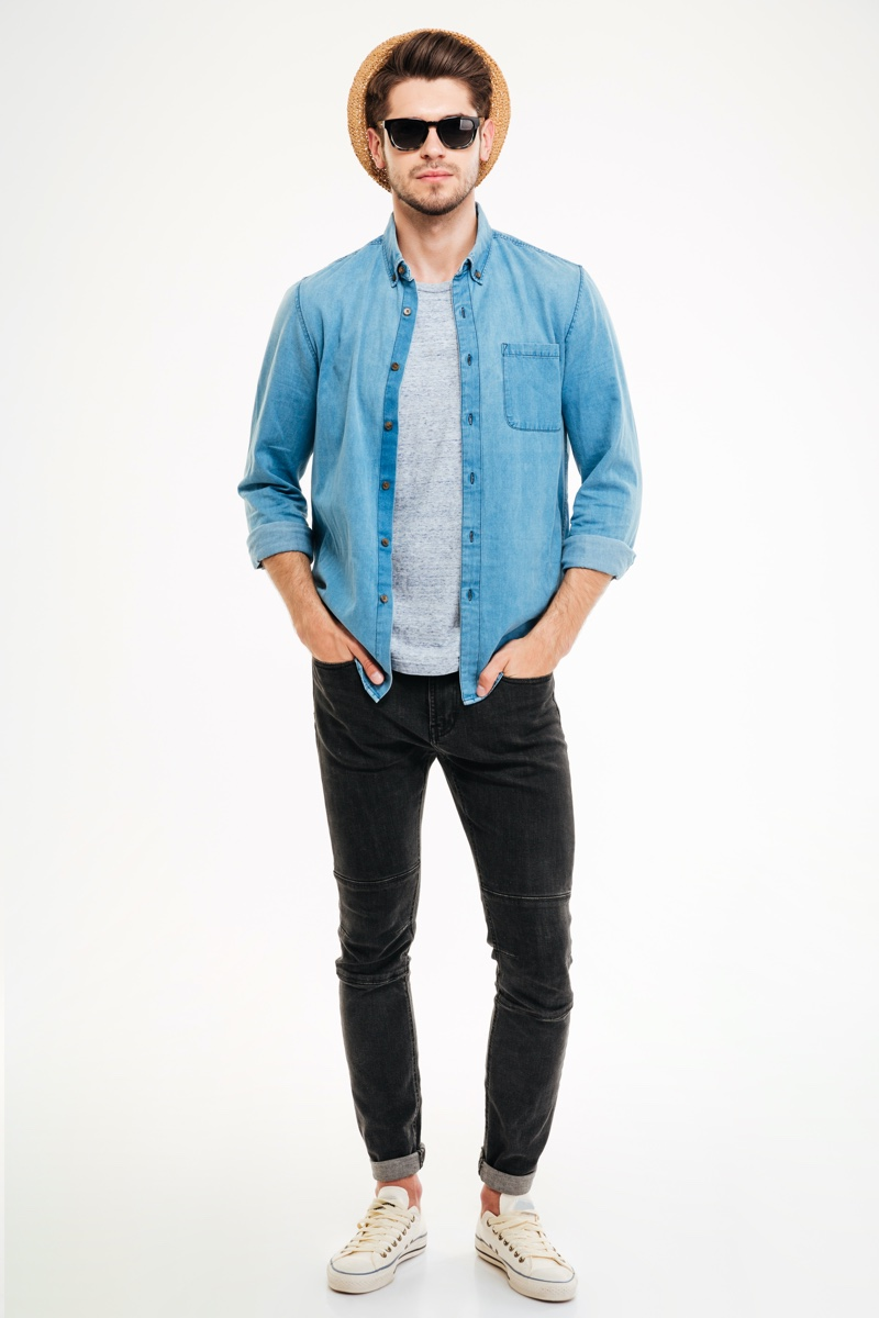 Man Denim Shirt Grey Shirt Jeans Outfit