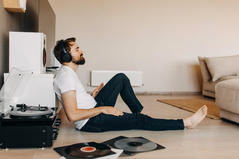 Man Listening to Records