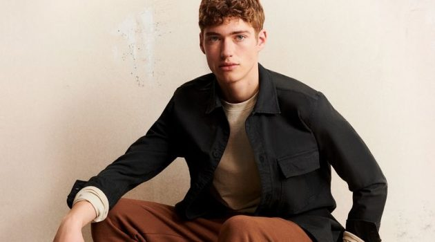 Front and center, Valentin Humbroich stars in Marc O'Polo's fall-winter 2021 men's campaign.