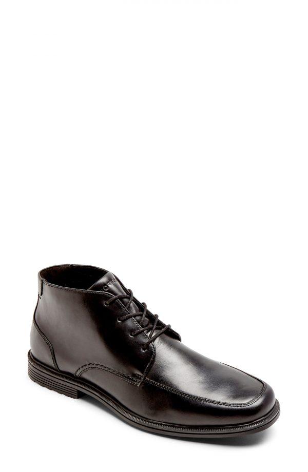 Men's Rockport Taylor Waterproof Leather Chukka Boot, Size 7 W - Black