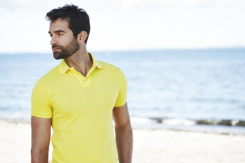Model Yellow Polo Shirt