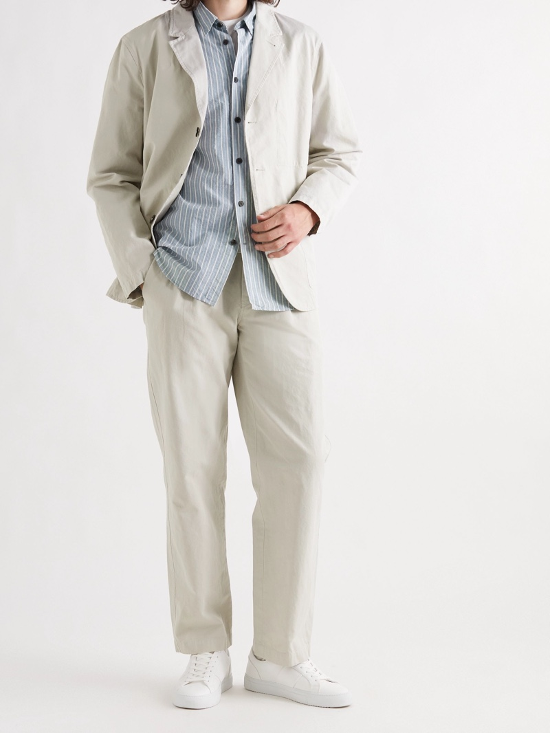 Mr P Pleated Cotton and Linen-Blend Suit Trousers | Photo Credit: Mr Porter