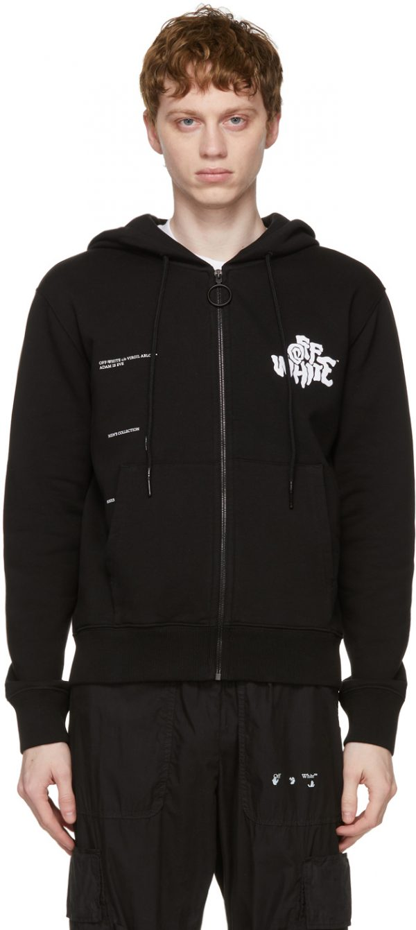 Off-White Black Blur Logo Zipped Hoodie