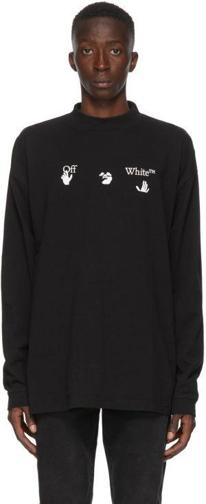 Off-White Black Mock Neck Big Logo T-Shirt