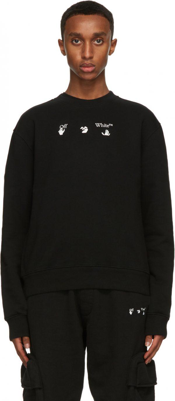 Off-White Black Slim Fit Peace Worldwide Sweatshirt