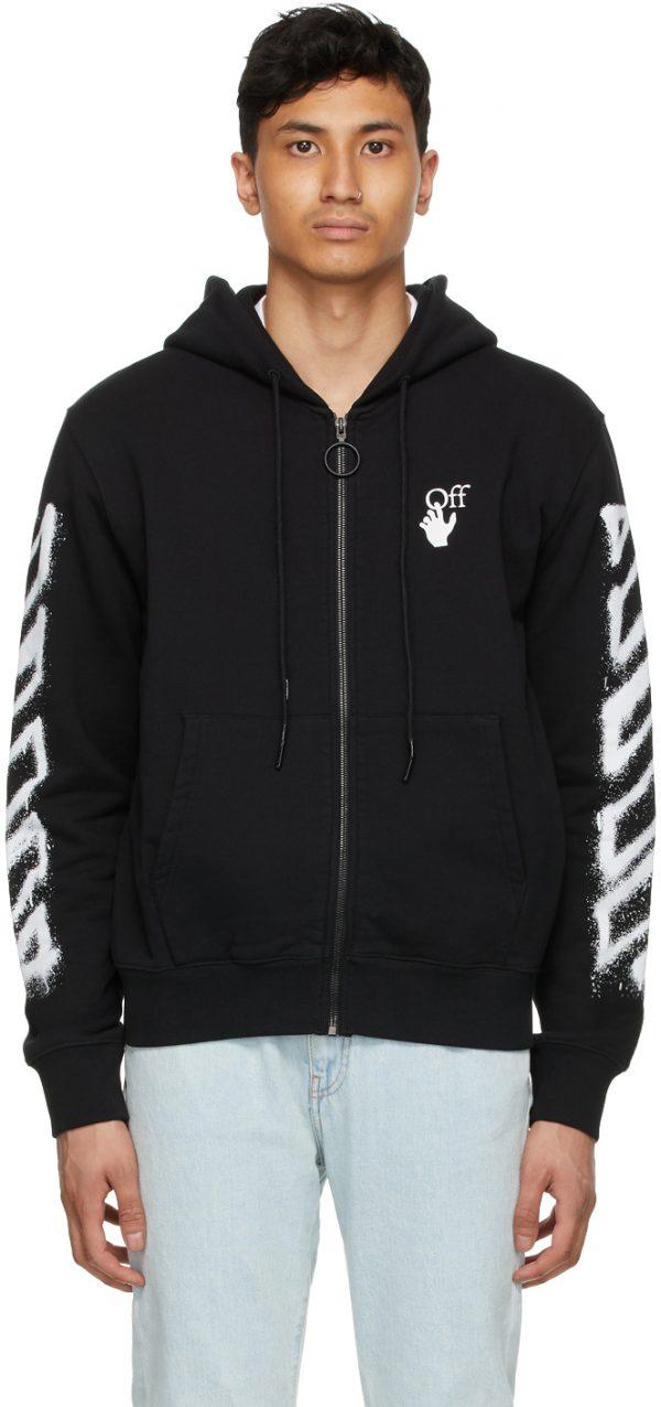 Off-White Black Spray Marker Zip Hoodie