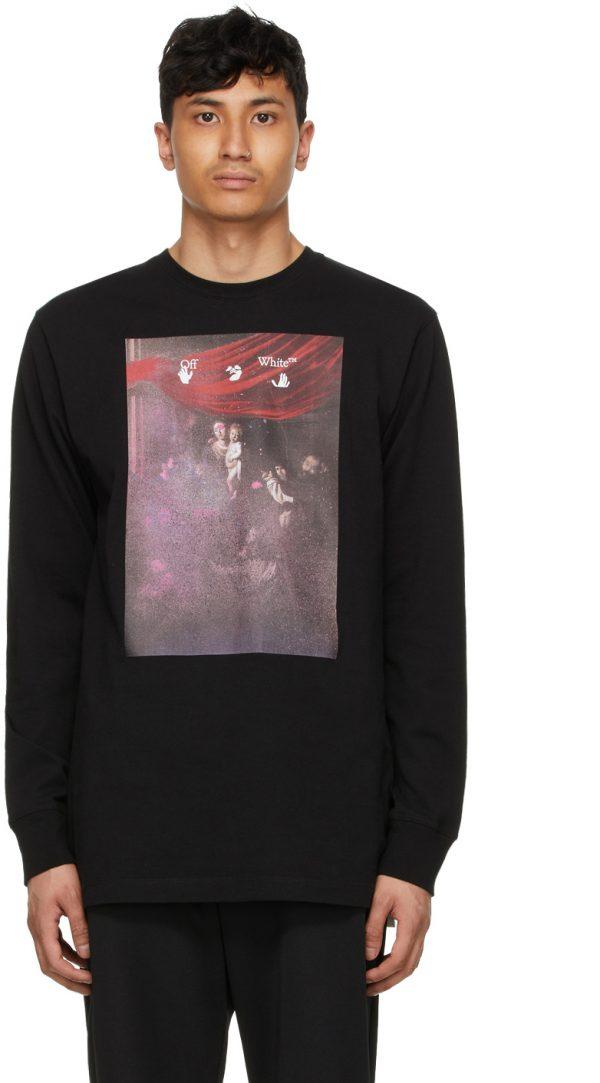 Off-White Black Sprayed Caravaggio Long Sleeve T-Shirt