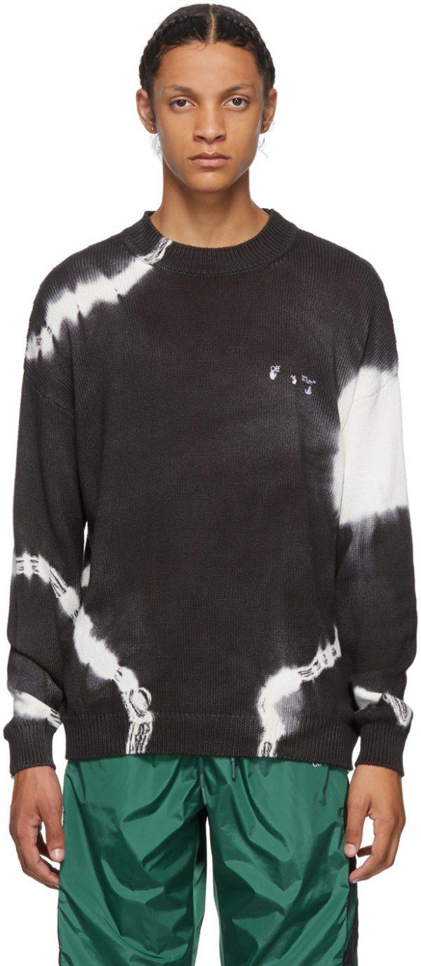 Off-White Black Tie Dye Crewneck