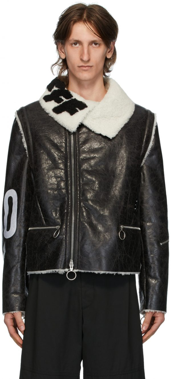 Off-White Black & White Shearling Zip-Off Sleeve Jacket