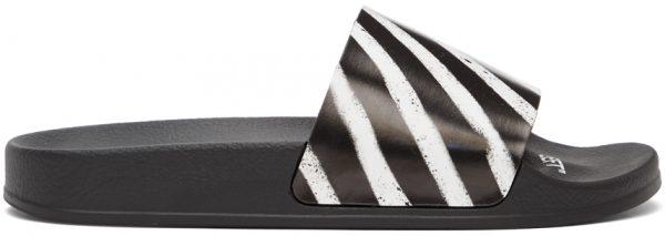 Off-White Black & White Spray Stripes Slides