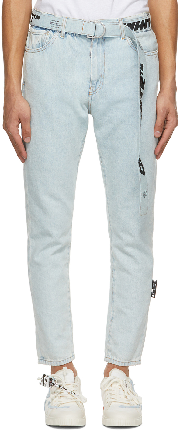 Off-White Blue Slim Fit Belted Jeans