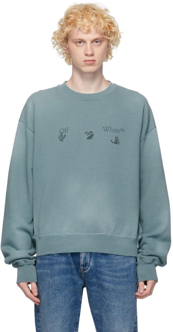 Off-White Blue Vintage Logo Sweatshirt