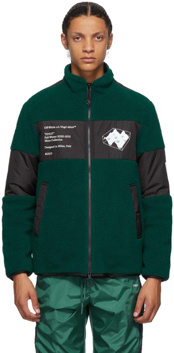 Off-White Green Polar Fleece Jacket