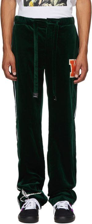 Off-White Green Velvet Pajama Lounge Pants