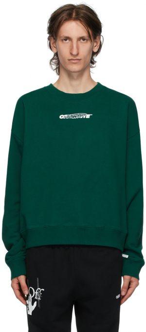 Off-White Green & White Hand Painters Sweatshirt