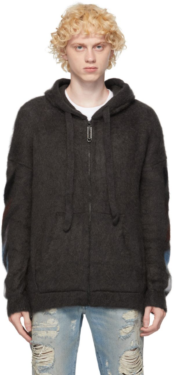 Off-White Grey Mohair Diag Hoodie