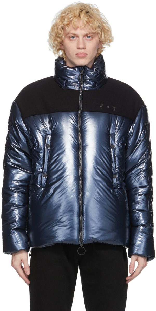 Off-White Navy Down Puffer Jacket