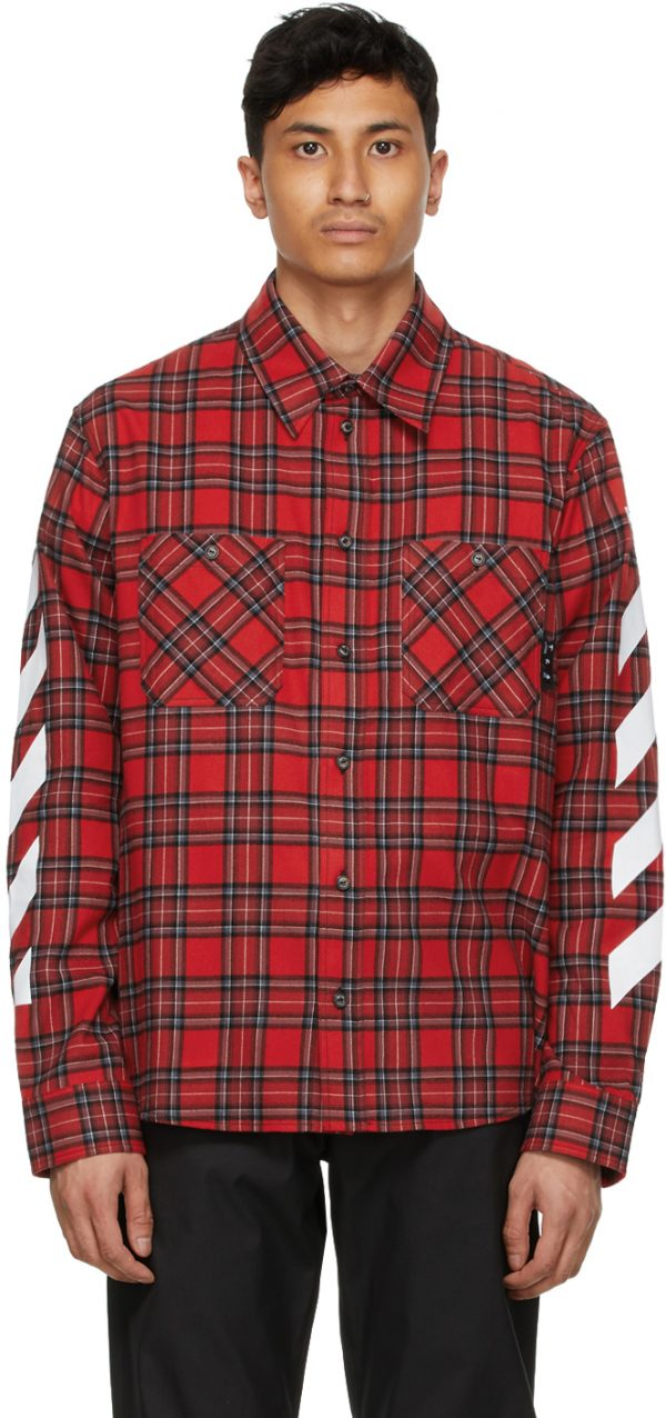 Off-White Red Flannel Diag Shirt