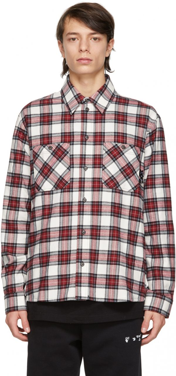 Off-White Red & White Flannel Check Shirt
