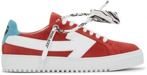 Off-White Red & White Suede Arrow Sneakers