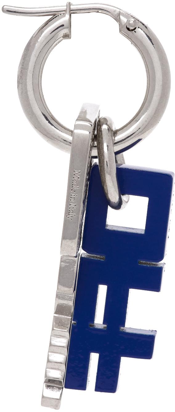 Off-White Silver & Blue Key Earring